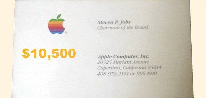 Man spends 10500 on steve jobs old business cards to promote app colourmoves