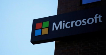 A sign marks the Microsoft office in Cambridge
