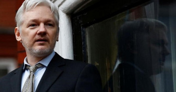WikiLeaks founder Julian Assange makes a speech from the balcony of the Ecuadorian Embassy, in central London