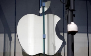 The logo of Dow Jones Industrial Average stock market index listed company Apple (AAPL) is seen in Santa Monica