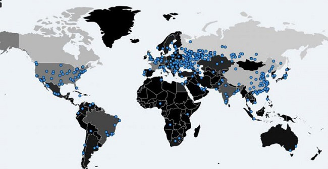 Blue spots on the world map show areas affected by the malware.