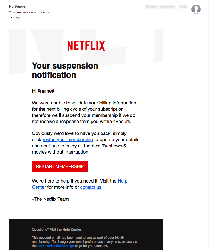 A fake Netflix email wants users' billing information - don't click it