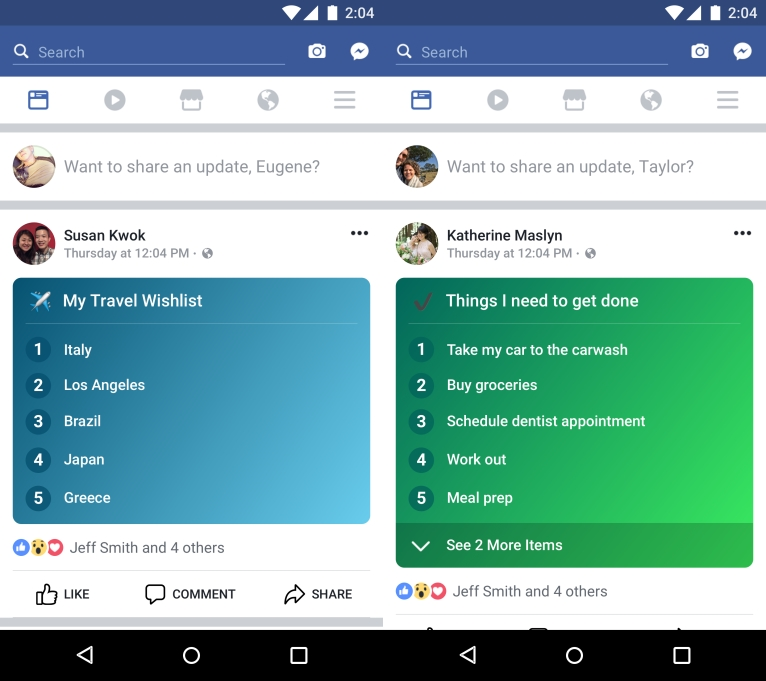 Facebook's new Lists feature focuses on more personal posts